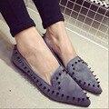 2017 весной новый способа прибытия старинные острым носом мелкая рот заклепки красивый бархат обувь одного способа женская обувь
