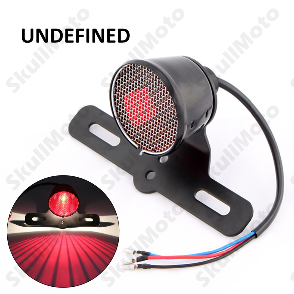 LED Motorcycle Mesh Tail Brake License Plate Light For Chopper Cafe Racer Bike