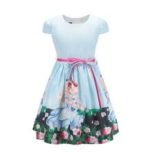 Вечерние платья принцессы Белоснежки для маленьких девочек, летняя одежда для девочек повседневные стильные детские платья для девочек возрастом от 2 до 8 лет, синий цвет