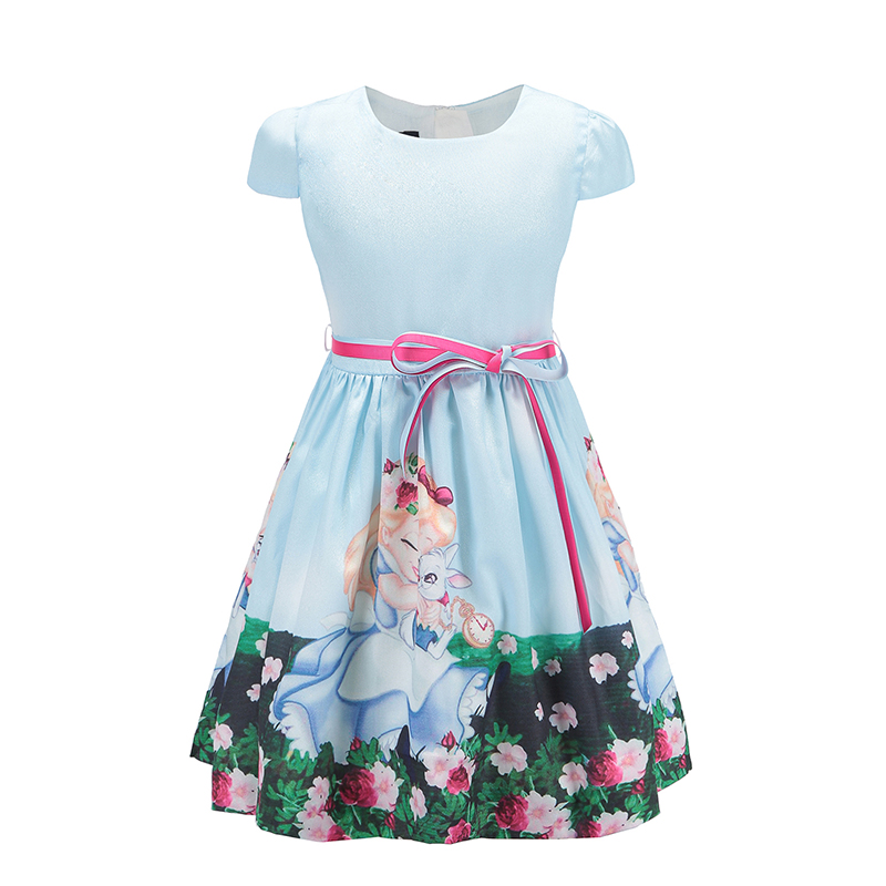 2018 Baby Girls Dress for Party  Princess Snow White Summer Girls Clothes Casual style Children Dresses for Girls 8 Year Blue
