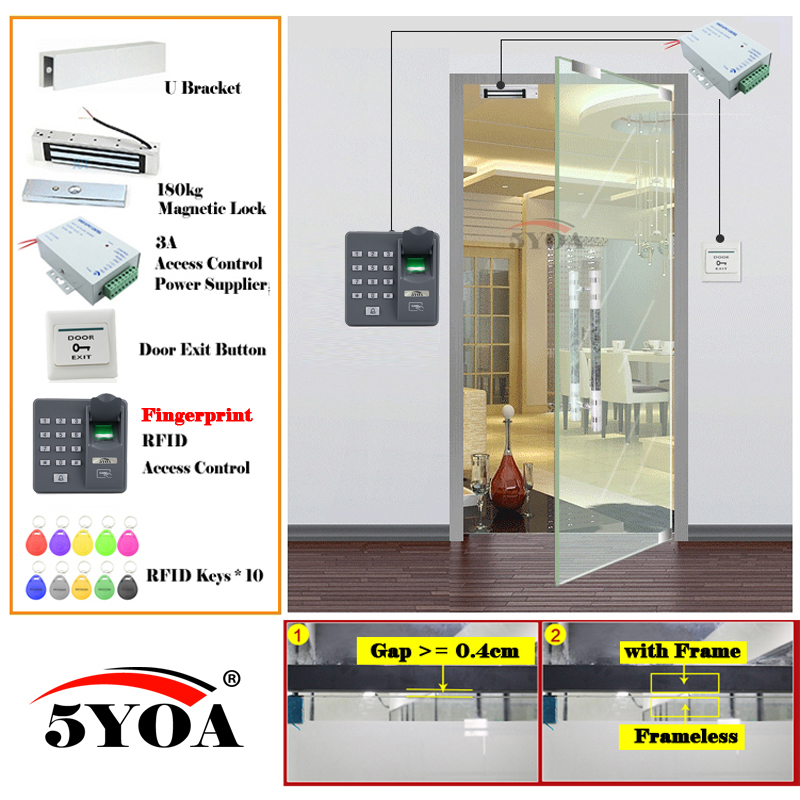 Fingerprint RFID Access Control System Kit Wooden Glasses Door Set Eletric Magnetic Lock ID Card Power