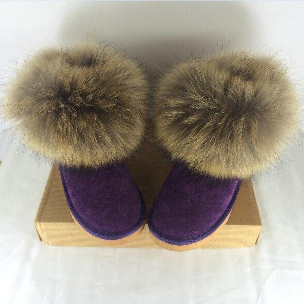 Natural Grande de Piel de Zorro de Las Mujeres Botas de Nieve del Invierno de Calidad Superior algodón Vaca Punta Redonda Botines de Invierno 100% Cuero Genuino botas