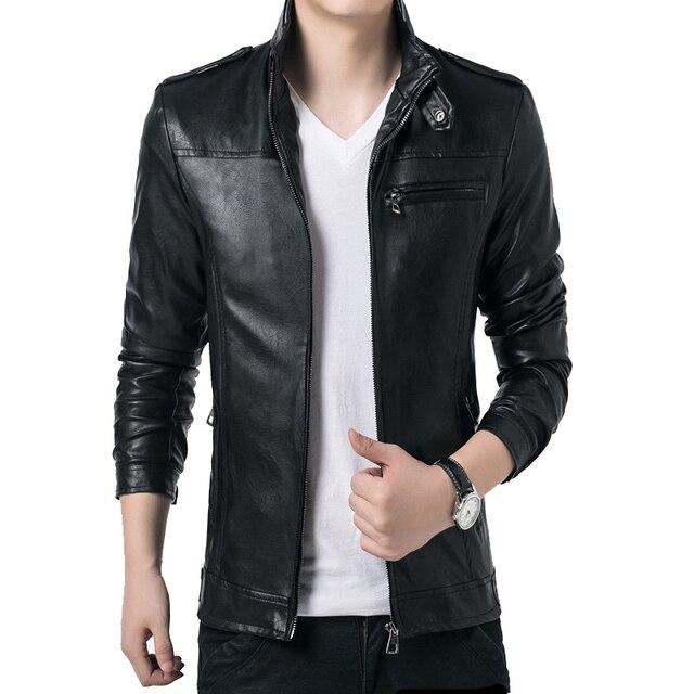2016 Осень горячие продажа новые тенденции моды Корейских мужчин бизнес случайные пальто стоять воротник PU тонкий кожаные куртки размер multi-color