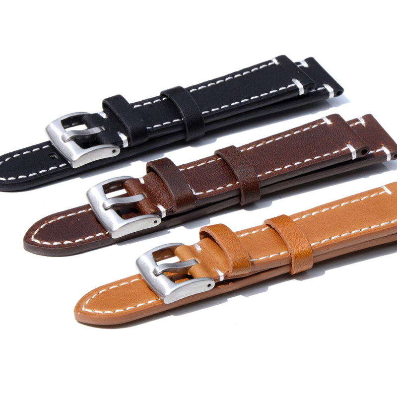 2019 Leather Watch Strap 18 19mm 20mm 21mm 22mm 23mm Brown Watch Strap Band Stainless Steel Buckle For Omega Tissot Seiko Casio