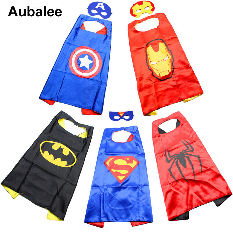 Kids Superhero Capes and Masks For Party Halloween Costume Boys Girls Superman Batman Spiderman Supergirl Cosplay Cloak Cape