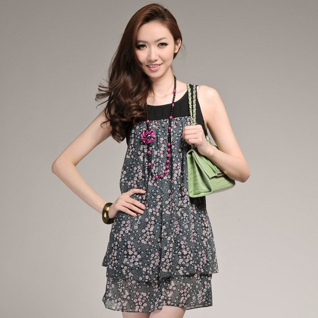 Free Shipping 9 o-neck sleeveless Multiple colors patchwork summer one-piece dress 22sc0007 Green Women's casual clothing