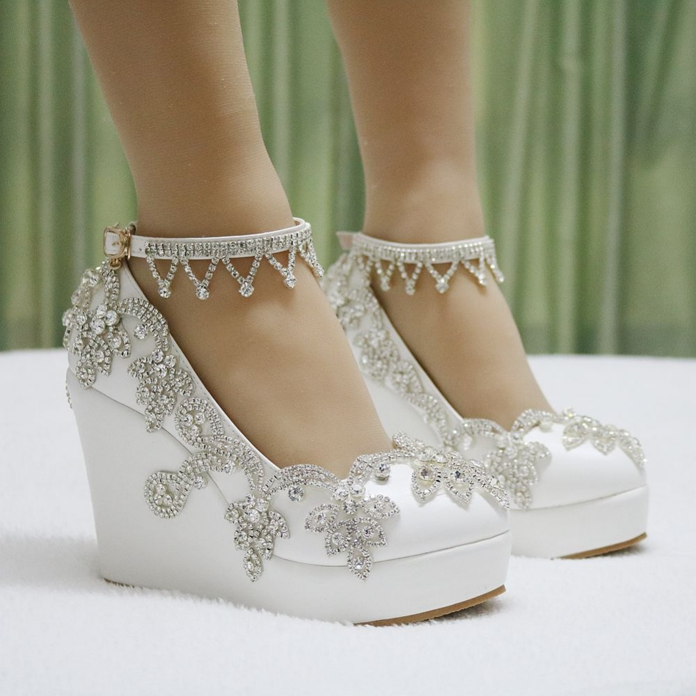 womens white wedding shoes almond toe lace wedge heels