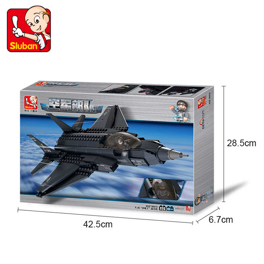 252Pcs Military Fighter F35 Plane Model Building Block Toys SLUBAN 0510  Construction Figure Gift For Children Compatible Legoe
