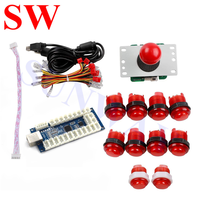 US $32 69 |DIY Arcade Joystick Kits 1 player Sanwa joystick+arcade LED  button +USB game encoder for PC PS3 XBOX360 Android MAME Game Roker-in