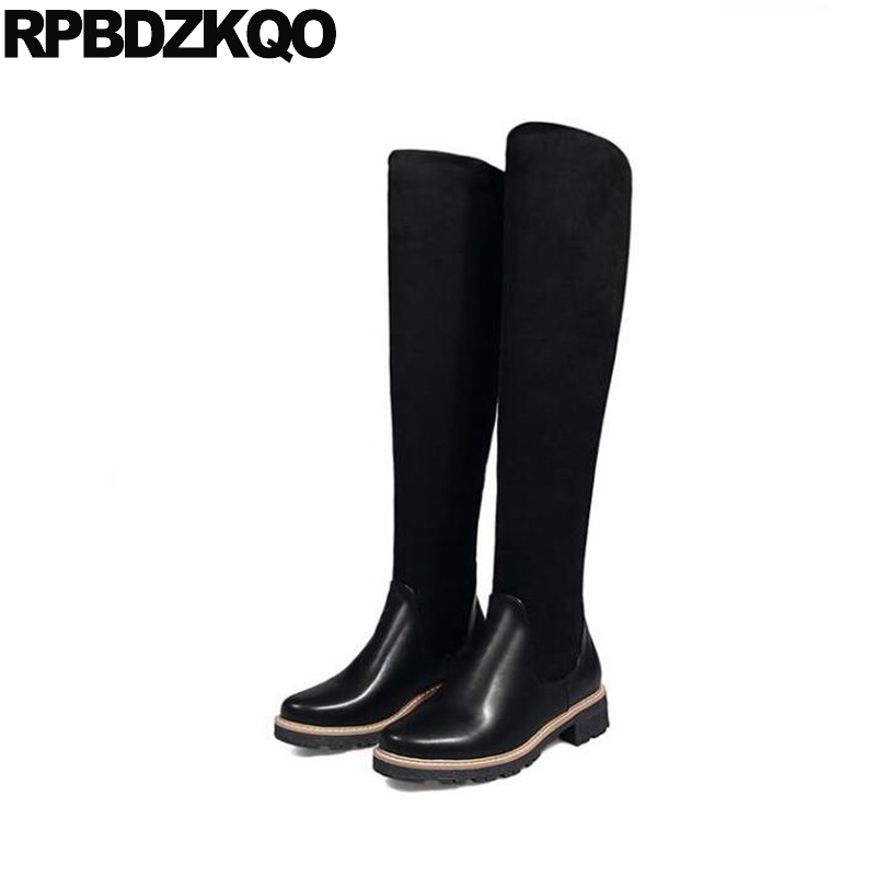 10 Knee High Cheap Big Size Chunky Shoes Slim Long Sexy Black Thigh Boots For Plus Women Female Stretch Over The Chinese New jady rose sexy front zipper women thigh high boots slim fit stretch fabric over the knee boot female sexy chunky high heel shoes
