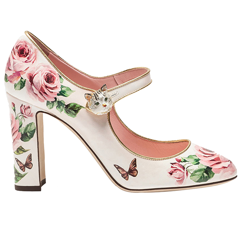 2018 Newest Rose Printed Mary Janes High Heel Shoe Round Toe Ankle Strap Thick Heels Party Shoes Woman Cat Buckle Lady Pumps xiaying smile woman pumps shoes women mary janes british style fashion new elegant spring square heels buckle strap rubber shoe