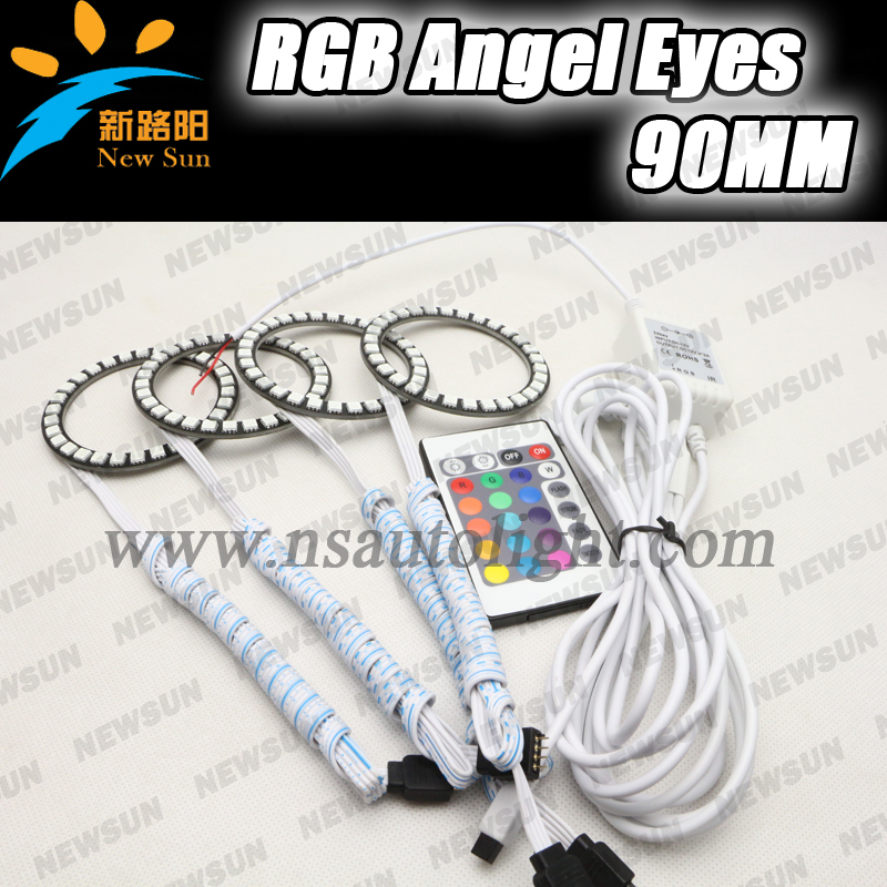 Color changing rgb led 90mm led ring lights car headlight replacement RGB angel eyes halo ring with rgb led controller