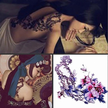 Chinese Ink Painting Tattoo Stickers Peony Flowers & Butterfly Pattern Ladies Back Tattoos Temporary Ink Flower Tattoo YM-T003