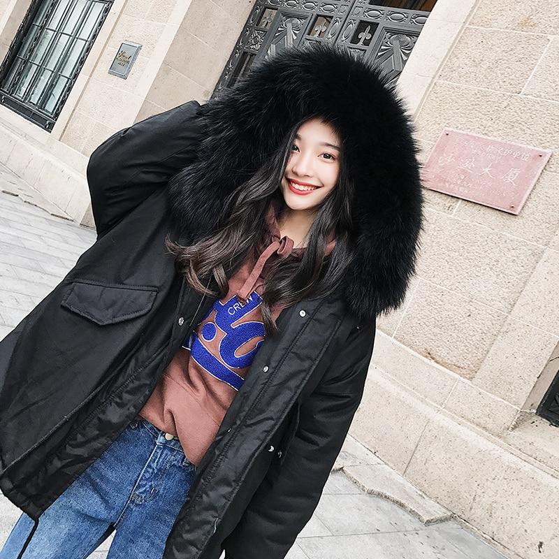 Hiver Artificielle Haute Beige Solide noir Fourrure Femmes Couleur Qualité Manteaux H175 Col Survêtement Parkas De Nouveau Femelle Vestes 2018 Manteau Épaissir 5gqwx0OAf