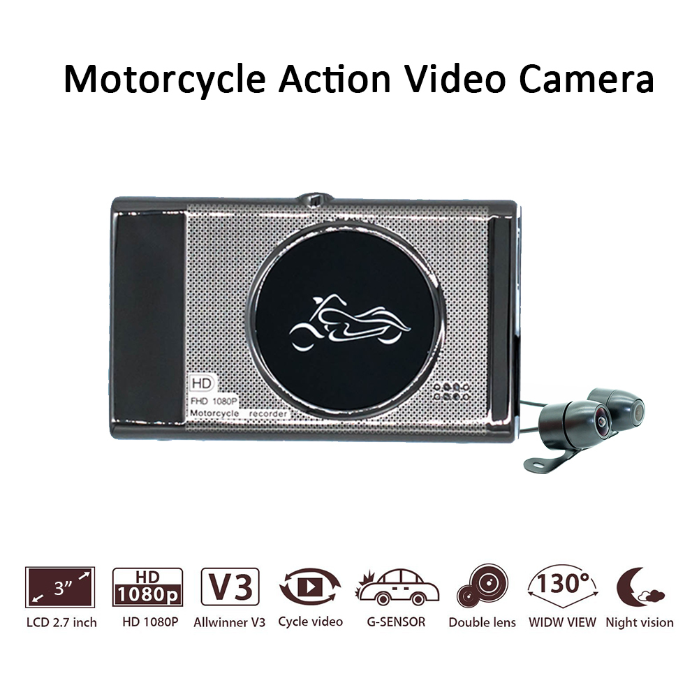 New 3.0 TFT Motorcycle Camera DVR Full HD 1080P Recorder Dash Cam Daul Waterproof Black Front Rear Recorder new 3 0 tft motorcycle camera dvr full hd 1080p recorder dash cam daul waterproof black front rear recorder