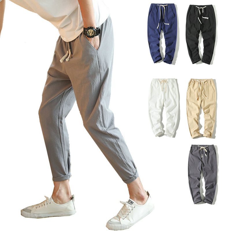 2020 Casual Comfortable Harem Pants Men Slim Fit Homme Jogger Pants Drawstring Male Trousers Solid Cotton Chinese Style Pants