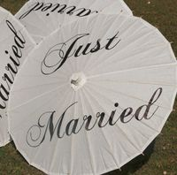 Just Married Personalized Paper Craft Umbrella 10Pcs Lot