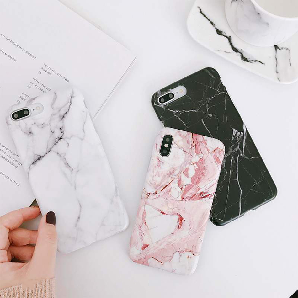 Moskado Shell Phone Case With Glossy Granite Marble Stone Cover For iPhone 11 Pro X XS Max XR 10