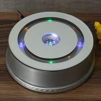 ABS Material 3D LED Lamp Base Anti Slip Rotating Display Stand Lamp Holder Bases Silver AC plug 220V