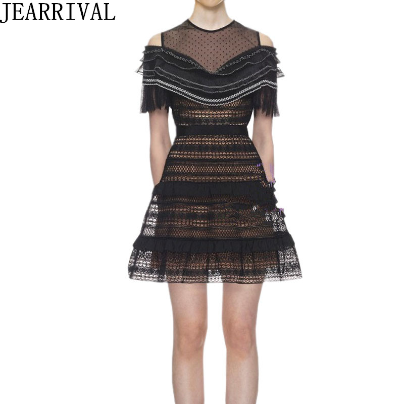 High Quality Sexy Hollow Out Party Dress 2018 New Spring Fashion Runway Designer Women Patchwork Ruffles Vintage Lace Dresses