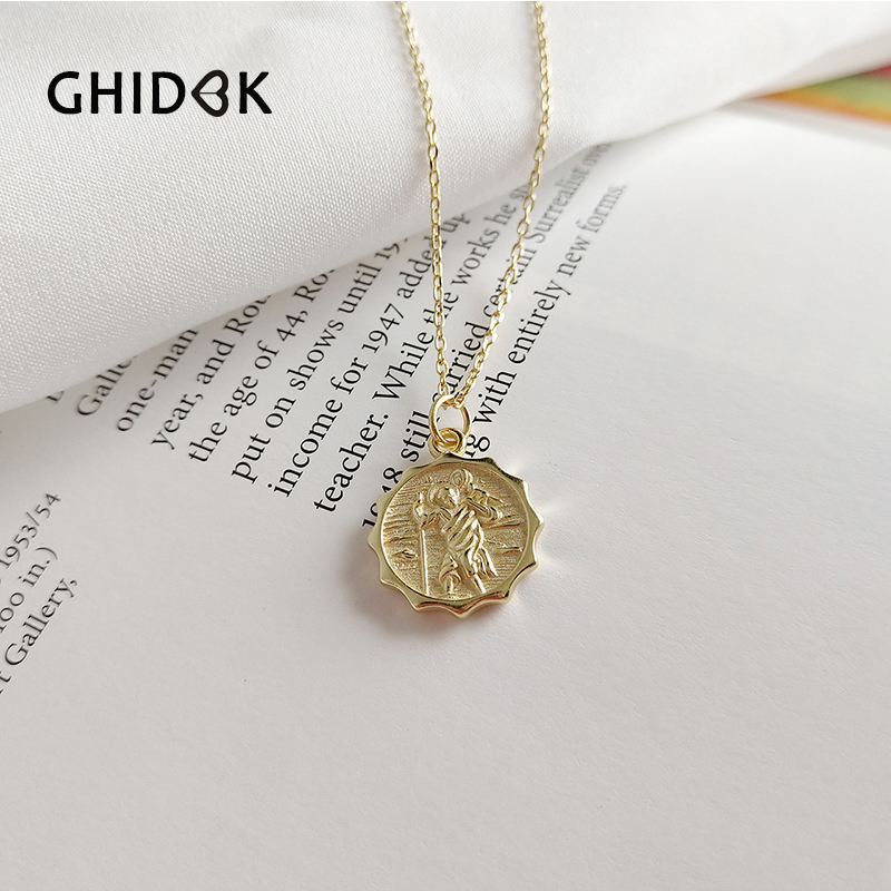 gold plated jewelry Baroque French necklace angel charm for women layered jewelry signet Angel necklace minimalist Medallion necklace