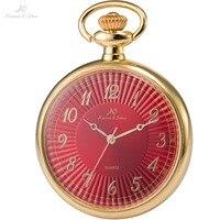 KS Luxury Brand Retro Relogio Red Dial Gold Stainless Steel Case Men Classic Quartz Pocket Watches