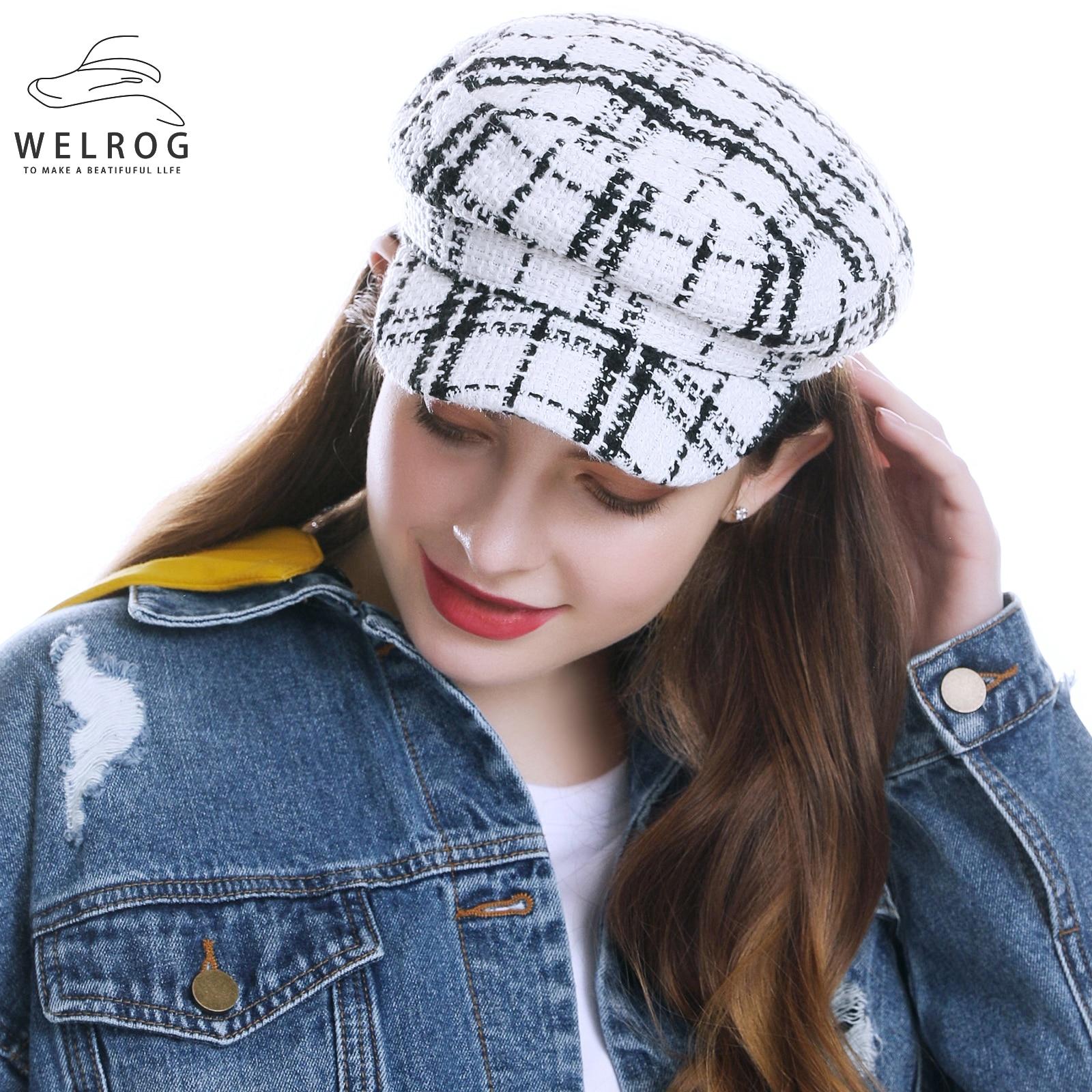 WELROG Newsboy Hat for Women New Autumn Octagonal Beret Hat Female Plaid White Black Painter Cap Winter Striped Hats