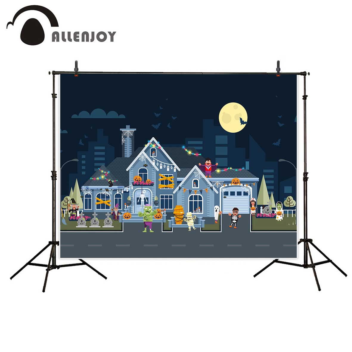 Allenjoy photography backdrop Halloween zombie cartoon cute children background newborn original design for studio fotografia