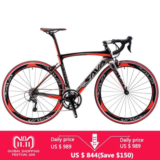 Сава 700C углеродного волокна дорожный велосипед углерода Велоспорт BICICLETTA шоссейный велосипед SHIMANO Сора R3000 18 Скорость Bicicleta