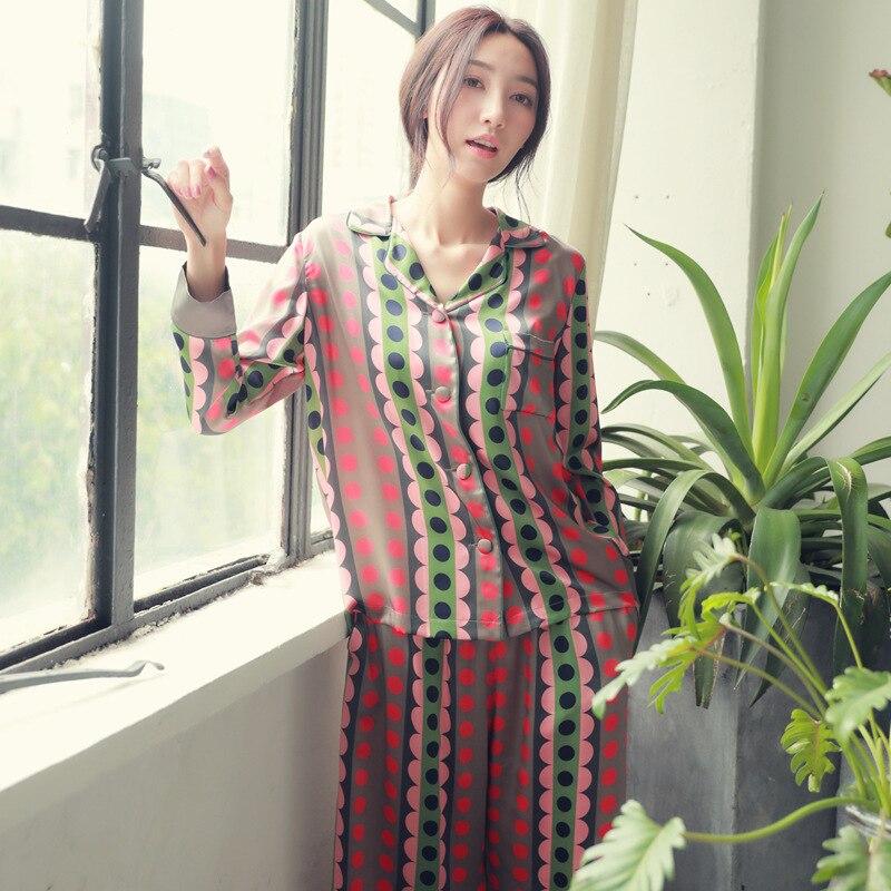 Spring Imitation Silk Printing High-end Sexy Pajamas Korean Casual Pijama Mujer Long Sleeve Pajama Set Geometric 2-piece Set