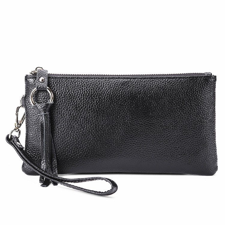 Korean version of the ladies leather handbag long cell phone package 10 anti-magnetic card bit card package lychees wallet