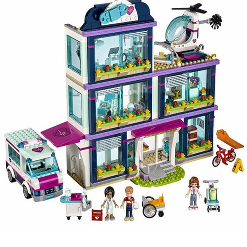 932pcs Compatible with playmobil Heartlake City Park Love Hospital Girl Friends Models Building Blocks Bricks Toys for children