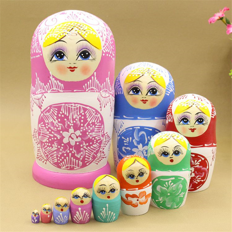 Mnotht Set 10 pcs Russian Traditional Nesting Dolls Matryoshka Exquisite Hand Painted Dry Basswood Russian Doll Toys L30