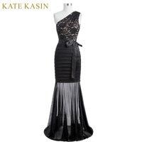 Kate Kasin Women Long Evening Dress 2017 One Shoulder Black Mermaid Evening Gowns Silhouette Lace Appliques