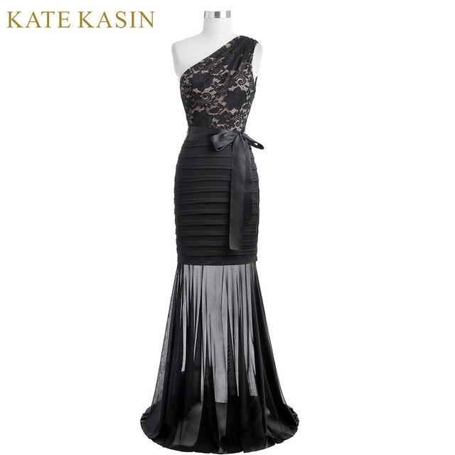 Kate kasin Для женщин длинное вечернее платье 2017 на одно плечо черный Русалка Вечерние платья силуэта Кружево аппликации Выходные туфли на выпускной бал Платья для женщин