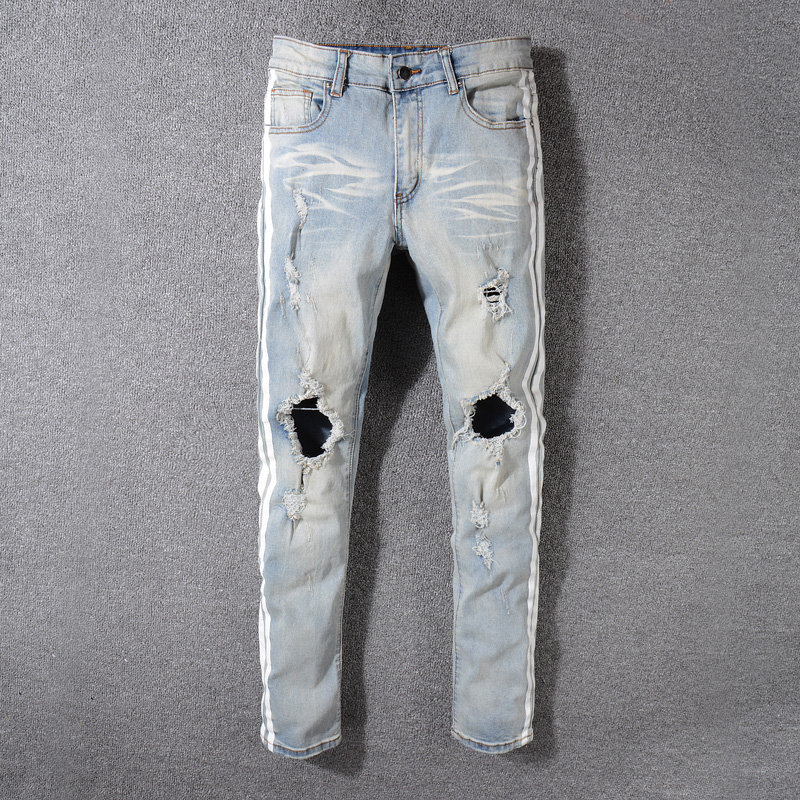 2018 Newly Fashion Men's Jeans High Quality Skinny Fit Ripped Jeans Men Elastic Punk Pants Hip Hop White Stripe Printed Jeans men elastic foot drawstring jeans