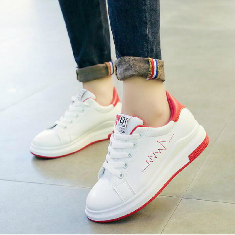 Women Sneakers 2019 Fashion Breathble Vulcanized Shoes Women Pu leather Platform Shoes Women Lace up Casual Shoes White A10-51(China)