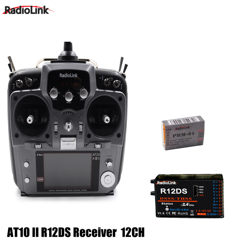 Original RadioLink AT10 II 2.4Ghz 12CH RC Transmitter with R12DS Receiver PRM-01 Voltage Return Module for RC Drone Quadcopter 2 4ghz 10ch radiolink at10 ii upgraded at10 rc transmitter with r12ds receiver prm 01 for rc camera drone airplane quadcopter