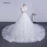 Amazing Scalloped Neck Cap Sleeves Ball Gown Wedding Dress 2018 Custom Made Bride Gown Vestidos De