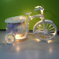 1X Handmade White Bicycle Shaped Bike With Flower Basket Copper Wire Led String Light Wedding Party