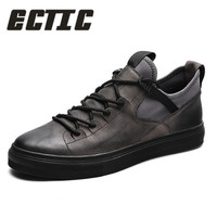 ECTIC Genuine Leather First Grade Cow Leather Sneakers Men's Casual Shoes Fashion Male Lace up Flats Breathable Shoes DP 108