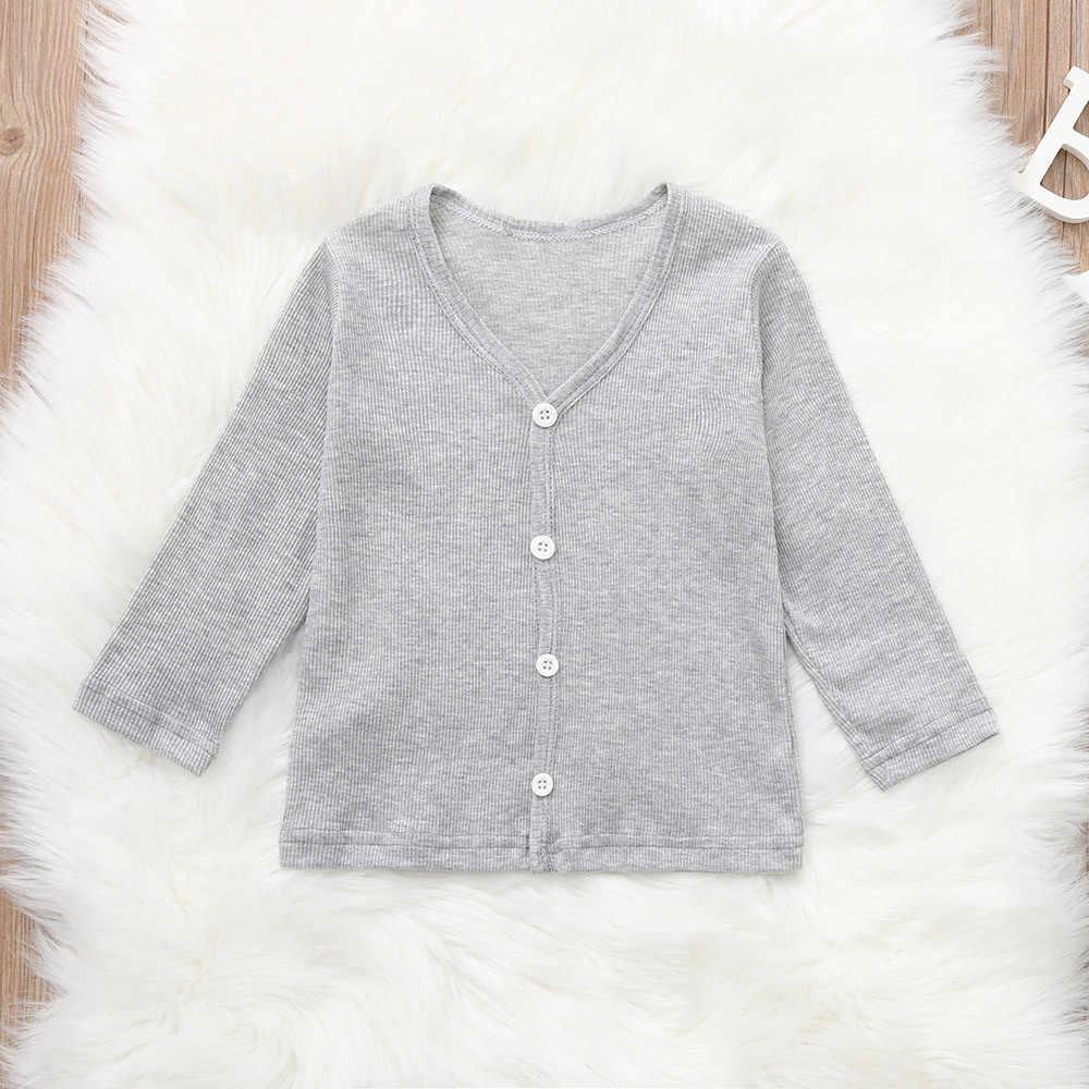 Bebé niños niñas suéter Caot niño Infante niños sólido tejido camiseta Tops 2018 marca otoño niños suéteres ropa 0030
