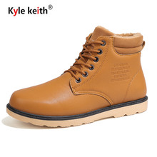 Kyle Keith Men Boots with Fur Winter Snow Boots Mens Outdoor Shoes Warm Footwear Rubber Ankle Boot Winter Shoes