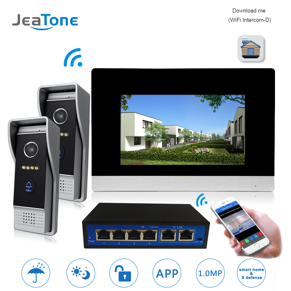7'' WIFI IP Video Door Phone Intercom Wireless Door Bell Speaker Access Control System For 2 Doors Support Smoke/Gas/Water Alarm