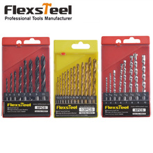 Flexsteel 13PCS HSS Titanium Twist Drill Bits Set to Metal + 8PCS Twist Drill Bit Set + 8PCS HSS Rock Concrete Drill Set screwdriver bits set screwdriving bit set multi purpose drill bit set with hss steel bits masonry drill bits wood drill bi