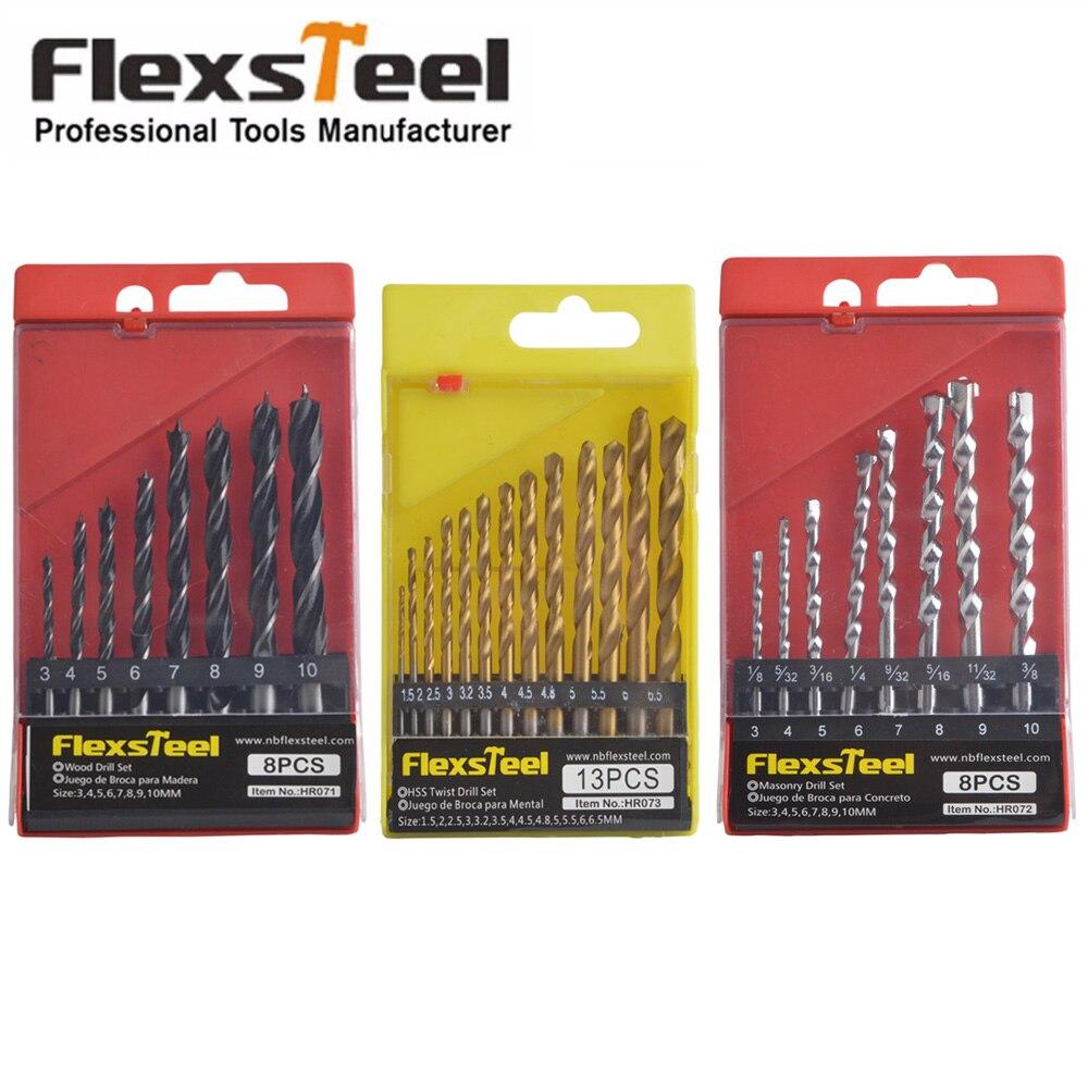 Flexsteel 13PCS HSS Titanium Twist Drill Bits Set to Metal + 8PCS Woodworking Drill Bit Set + 8PCS HSS Rock Concrete Drill Set