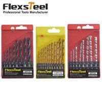 Flexsteel 13PCS HSS Titanium Twist Drill Bits Set To Metal 8PCS Twist Drill Bit Set 8PCS