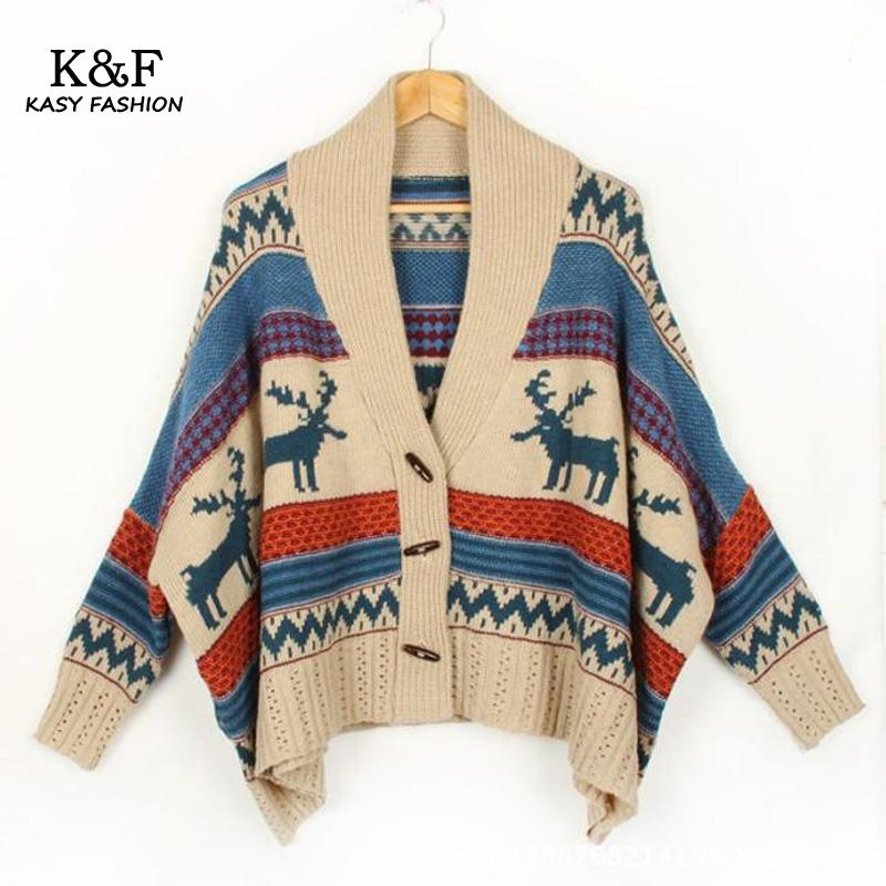 2017 Winter Women Sweater Coat Batwing Sleeve Ethnic Loose Slim Wool  Cardigan Striped Skull Patterned Cardigan - Online Buy Wholesale Patterned Cardigans From China Patterned