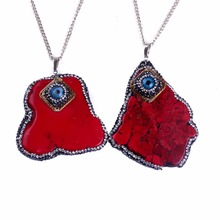 Natural Statement Paved Rhinestone Pendants Necklace& Choker Charm Evil Eye Pendant Necklace for Women Jewelry