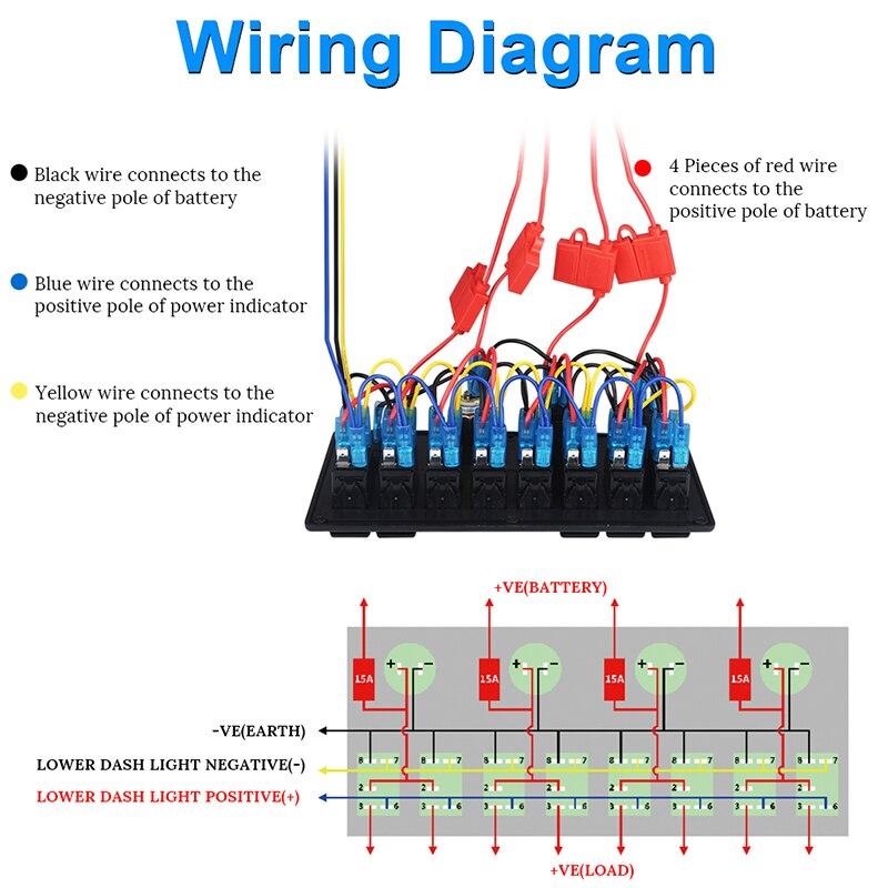 6/8 Gang LED Car Boat Truck Waterproof Rocker Switch Panel 3.1A Dual  Gang Switch Panel Wiring Diagram on
